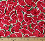 Cotton Watermelons Fruits Summers Pink Green Cotton Fabric Print by the Yard (FRUIT-C7965)
