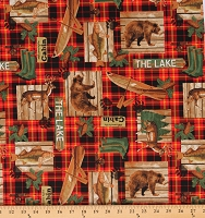 Cotton Welcome to the Cabin Fishing Deer Bears Canoes Lake House Red Cotton Fabric Print by the Yard (51907-1)