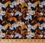 Cotton Horses Allover Horse Equestrian Ranch Animals Country Farm Southwestern Southwest Mustang Sunset Cotton Fabric Print by the Yard (1649-26483-N)