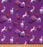 Cotton Unicorns Magical Fairy Tales Little Girls Purple Cotton Fabric Print by the Yard (C9981-PURPLE)