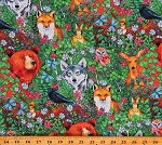 Cotton Animals Forest Bears Deer Foxes Woodland Fantasy Cotton Fabric Print by the Yard (1306-66)