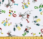 Cotton Books Numbers Dr. Seuss Cat In The Hat White Cotton Fabric Print by the Yard (ADE_74438-1-WHITE)