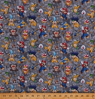Cotton Mario Characters Hammer Bro Bombs Larry Wendy Koopas Gray Cotton Fabric Print by the Yard (73460-A620715)