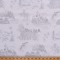 Cotton Seattle Washington Pacific Northwest Cottage Clothworks Whale Mount Rainer Cream Gray Cotton Fabric Print by the Yard (Y2485-6GRAY)