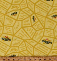 Cotton The Wiggles Ready Steady Wiggle Sayings Words Quotes Yellow Cotton Fabric Print by the Yard (C8544-YELLOW)
