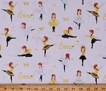 Cotton The Wiggles Emma Ballerina Ballet Stretching Dancing White Cotton Fabric Print by the Yard (C9741-WHITE)