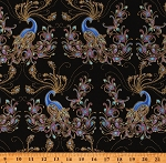 Cotton Peacocks Feathers Metallic Peacock Flourish on Black Cotton Fabric Print by the Yard (10228M-12)