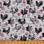 Cotton Chickens Words French Country Paris Stamps Kitchen Le Poulet Cream Cotton Fabric Print by the Yard (5461-33)