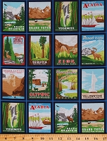 Cotton National Parks Posters Postcards Pictures USA Parks Travel Explorer Hiking Adventure Explore America Multicolor Cotton Fabric Print by the Yard (AOR-15338-195BRIGHT)
