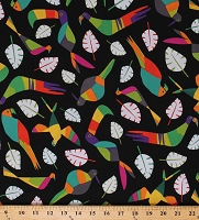 Cotton Rio Toucan Birds Leaves on Black Cotton Fabric Print by the Yard (A-8210-K)