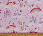 Cotton Unicorns Magic Rainbows Unicorn Dreams Lilac Cotton Fabric Print by the Yard (9801P-06)