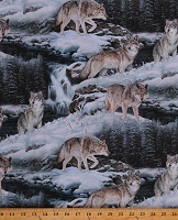 Cotton Wolves Wolf Animals Wildlife Winter Nature Scenic Multicolor Cotton Fabric Print by the Yard (49481-1600715P)