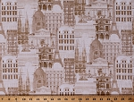 Cotton Paris France Buildings Cityscape French Parisian Architecture Gold Cotton Fabric Print by the Yard (52139-2)