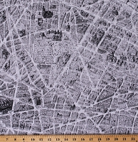Cotton Maps Paris France Merci City Cities Streets Black and White Cotton Fabric Print by the Yard (52138-1)