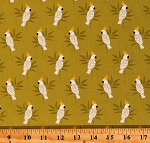 Cotton Cockatoos Birds Parrots Animals Jungle Monsoon Green Cotton Fabric Print by the Yard (TP-1881-G)