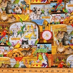 Cotton Children's Pet Store Animals Pets Toys Kids Cotton Fabric Print by the Yard (AOS-17174-195BRIGHT)
