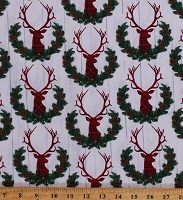 Cotton Cotton Christmas Deer Holiday Winter Plaid Wreath Barn Wood Rustic Cabin Lodge Northwoods Red Green White Cotton Fabric Print by the Yard (HOLIDAY-C7112-MILK)