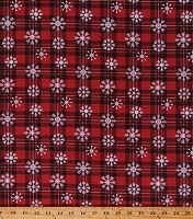 Cotton Red Plaid Snowflakes Winter Over the River Northwoods Lodge Cabin Holiday Festive Cotton Fabric Print by the Yard (69521-D650715)