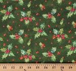 Cotton Holly and Ivy Leaves Christmas Holiday Deck the Halls Green Cotton Fabric Print by the Yard (22884-74)