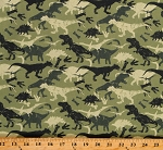Cotton Camoflauge Dinosaurs Prehistoric Ancient Jurassic Green Cotton Fabric Print by the Yard (111639)