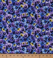 Cotton Pansies Pansy Flowers Floral Purple Blue Yellow Blossoms Cotton Fabric Print by the Yard (PANSY-C7722-PURPLE)