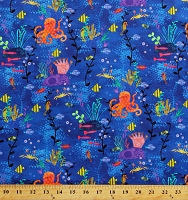 Cotton Octopus Garden Fishes Sea Horses Coral Ocean Cotton Fabric Print by the Yard (AASD-18776-59 OCEAN)