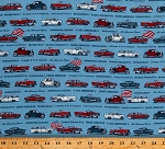 Cotton Antique Cars Vehicles America Old Guys Rule Blue Cotton Fabric Print by the Yard (AODD-17519-67-DENIM)