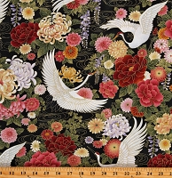 Cotton Cranes Japanese Metallic Flowers Windsong Multicolor Cotton Fabric Print by the Yard (OA6026402)