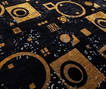 Velvet Print Gold Tone Geometric Designs on Black Background Fashion Burnout Textured 44