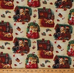 Cotton Fireside Pups Christmas Dogs Puppies Pets Stockings Ornaments Pine Cozy Holiday Festive Black Red Green Cotton Fabric Print by the Yard (7193-44)