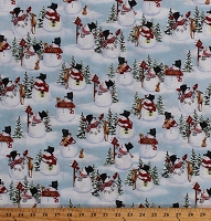 Cotton Snowmen Snowman Birds Winter Festive Holiday Christmas Snow Days Blue Cotton Fabric Print by the Yard (1638-11)