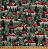 Cotton Christmas Tree Farm Red Trucks Barns Country Winter Festive Holiday Homestead Cotton Fabric Print by the Yard (1613-66)