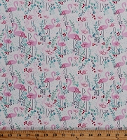 Cotton Flamingos Flamingo Birds Animals Flowers Floral on White Summery Spring Nature Cotton Fabric Print by the Yard (STELLA-951-WHITE)
