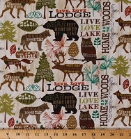Cotton Live Lodge Love Cabin Camping Quotes Woods Woodland Northwoods Animals Trees Cream/Brown Cotton Fabric Print by the Yard (WA-3439-8C)