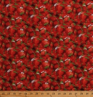 Cotton Strawberries Strawberry Blossoms Fruit Berries Food Kitchen Summer Berry Good Red Cotton Fabric Print by the Yard (155RED)
