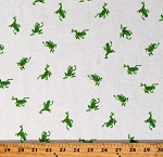 Cotton Frogs Green Hopping Cute Animals on White Cotton Heather Ross 20th Fabric Print by the Yard (43484A-3)
