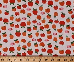 Cotton Apples Fruits Cute Foods Summer on White Cotton Heather Ross 20th Fabric Print by the Yard (43483A-2)