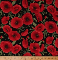 Cotton Tuscan Poppies Realistic Look Flowers Poppy Floral Spring Garden Gardening Blooms Allover on Black Cotton Fabric Print by the Yard (POPPIES-C5837-BLACK)