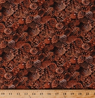 Cotton Landscape Medley Pinecones Pine Cones Fall Autumn Autumnal Allover on Brown Cotton Fabric Print by the Yard (454BROWN)