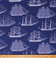 Cotton Boats Nautical Ships Blue Cotton Fabric Print by the Yard (C8550)