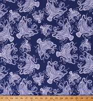 Cotton Octopus Nautical Ocean Marine Blue Cotton Fabric Print by the Yard (C8553)
