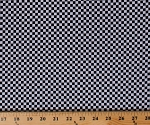 Cotton Racing Check Black White Checkered Squares Cotton Fabric Print by the Yard (51270-1)