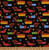 Cotton Dogs Dachshund Puppies Puppy Animals Pets Picnic Summer on Black Cotton Fabric Print by the Yard (DOG-C7209)