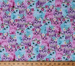 Cotton Cute Kittens Cats Pets Flower Crowns Flowers Animals Purple Pink Blue Cotton Fabric Print by the Yard (CAT-C6991-MULTI)
