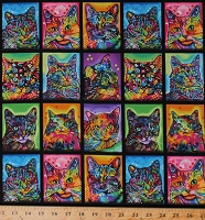 Cotton Cats in Squares Cat Breeds Animals Pets Colorful Graffiti Felines Crazy for Cats Multi-Color Cotton Fabric Print by the Yard (10240)