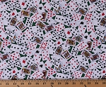 Cotton Playing Cards Poker Deck Card Games Tossed Cards on Green Cotton Fabric Print by the Yard (GAIL-C6274)