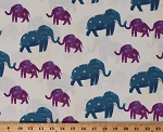 Cotton Elephants Blue Purple Animals Stars Sheet Music Wish Starry Elephants Old Paper Cotton Fabric Print by the Yard (51740-1)