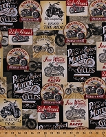 Cotton Motorcycles Vintage-look Bikers America's Finest Iron Wheels Vehicles Cotton Fabric Print by the Yard (FUN-C8049)