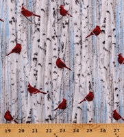 Cotton Cardinals Birch Trees Birds Winter Woods Forest Nature Scenic Blue Cotton Fabric Print by the Yard (NATURE-C7870-WHITE)