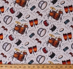 Cotton Drums Drum Sets Allover on Cream Drummers Congas Bongos Tambourines Percussion Instruments Musical Notes Music Musicians Live Jazz Cotton Fabric Print by the Yard (239CREAM)